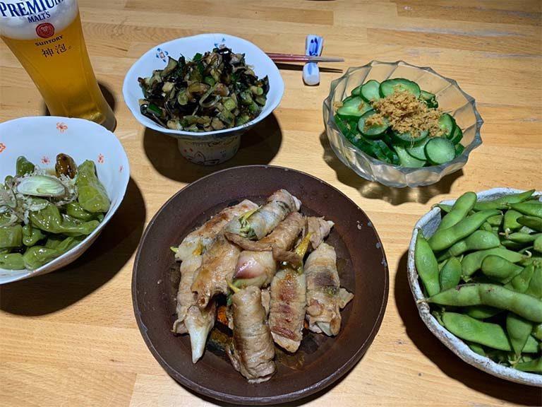 プランター農園の食材で夕食